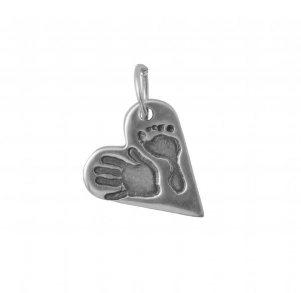 Heart Hand And Foot Print Charm